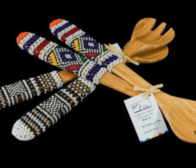 Bamboo Salad Servers Beaded
