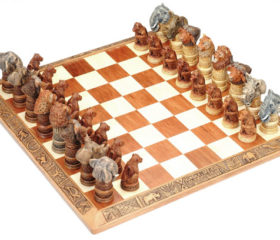 Chess Set with Animal Heads