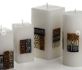 Mud cloth Design Candle