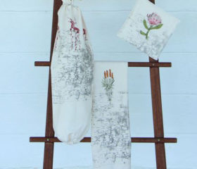 Protea Map Tea Towel and Pot Holder