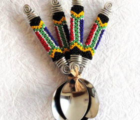 Zulu Beaded Teaspoons with SA Flag