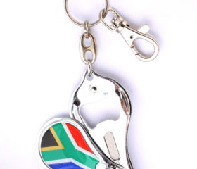 SA Flag Keyring with Nailclipper and Bottle Opener
