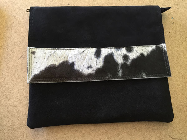 Suede and Nguni Document Holder