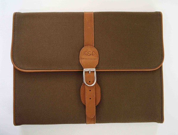 canvas and leather tri folder african touches