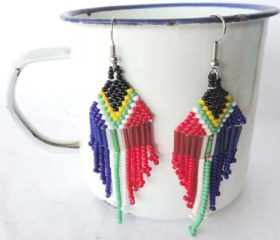 Beaded SA Flag earrings
