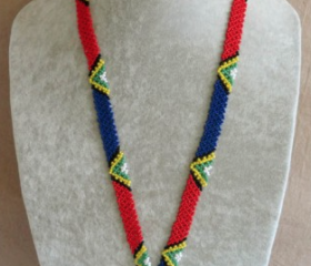 beaded sa flag lanyard