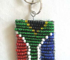 Beaded SA Flag Keyring