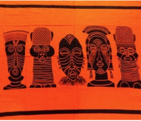 African Ethnic Mask Sarong Orange