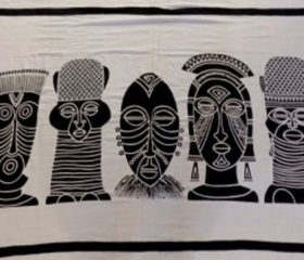 African Ethnic Mask Sarong White
