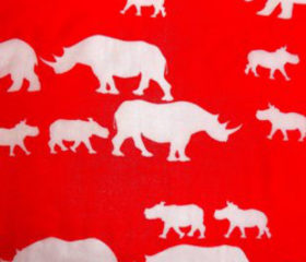 Rhino Family Scarf Red