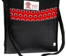 Black PVC Document Bag with Shweshwe