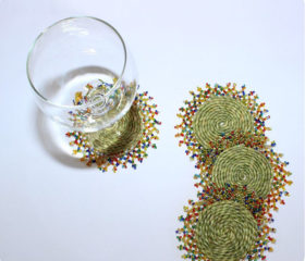 grass beaded coaster set