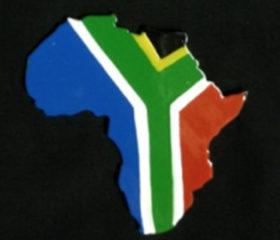 SA Flag Africa Shape Magnet