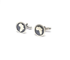 Africa Shaped Silver Cufflinks