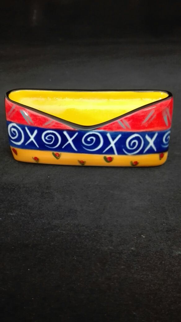 Ethnic ceramic business card holder - African Touches