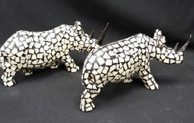 Rhino Ostrich Mosaic Figurine