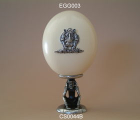 pewter pende ostrich egg stand