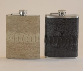 Ostrich Leather Hip Flask