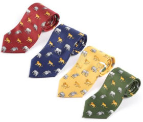 Polyester Big Five animal tie